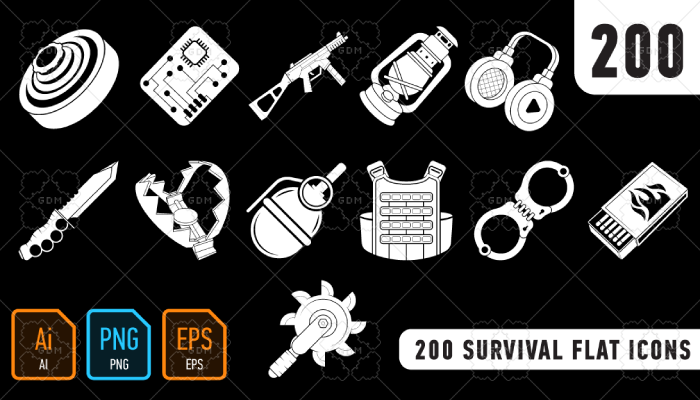 200 Survival Flat Icons