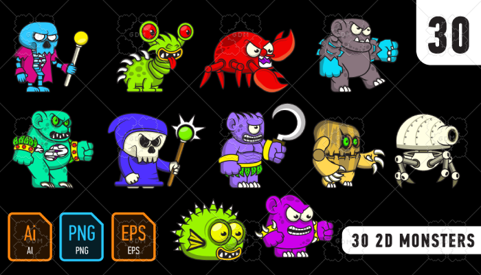 30 2D monsters