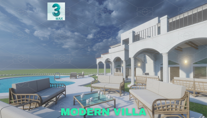 Modern Villa with Private Pool Scene – 3DS MAX – Low Poly