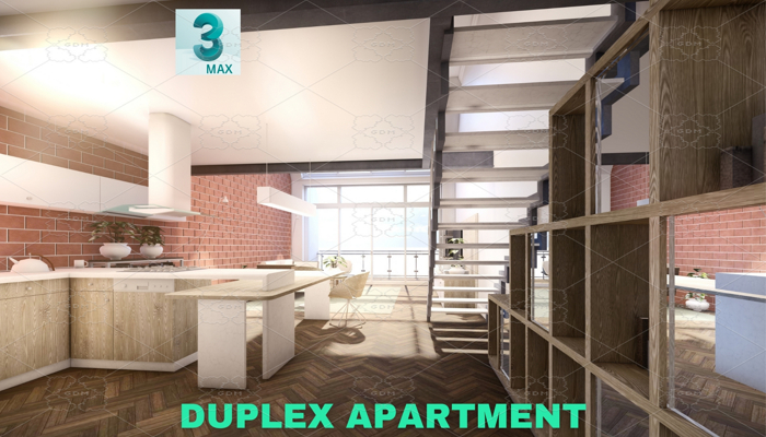 Modern Duplex Apartment Scene – 3DS MAX – Low Poly