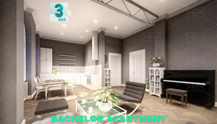 Bachelor Studio Apartment Scene – 3DS MAX – Low Poly