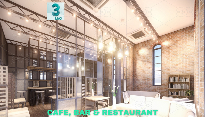 Intimate Cafe, Bar & Restaurant Scene – 3DS MAX – Low Poly