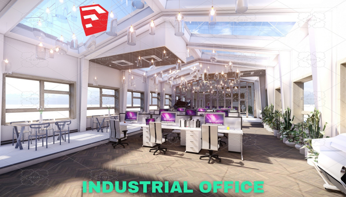 Industrial Office on Attic Scene – SketchUp
