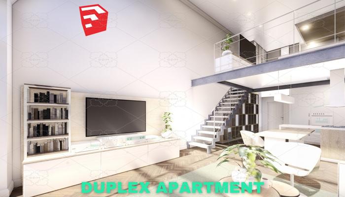 Modern Duplex Apartment Scene – SketchUp