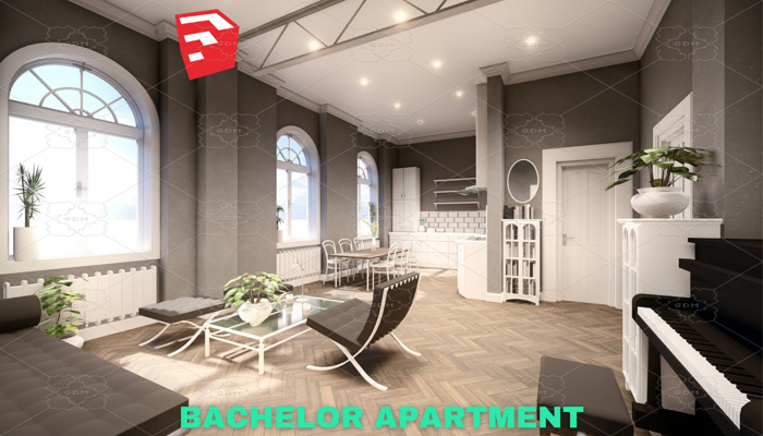 Bachelor Studio Apartment Scene – SketchUp