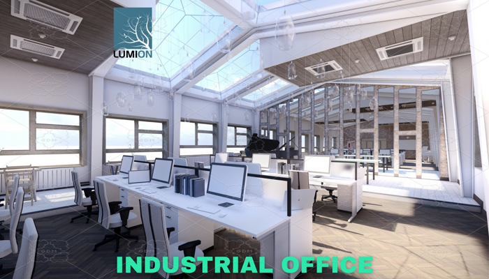Industrial Office on Attic – Lumion – Low Poly