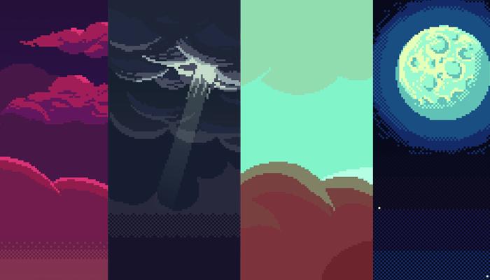 Seven Sky Pixel Art Backgrounds