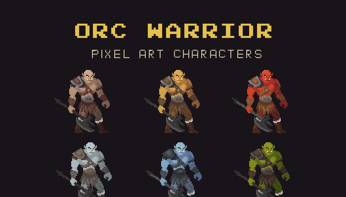 Orc Warrior Pixel Art Character