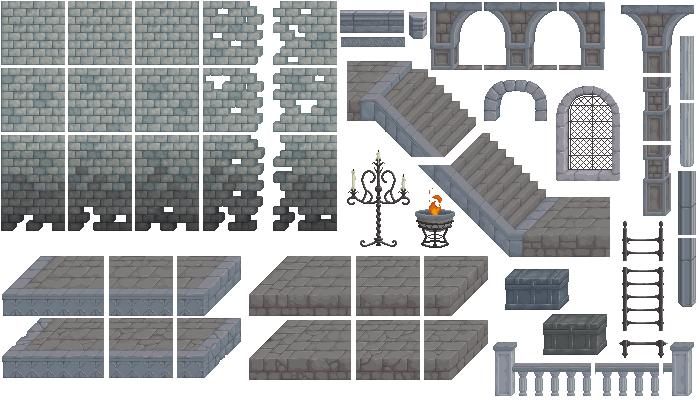 PixelArt Dungeon/Custle Platformer Asset #2