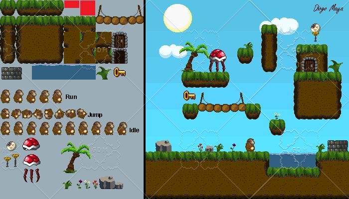2D Platformer Tileset, Assets & Animations (32×32)