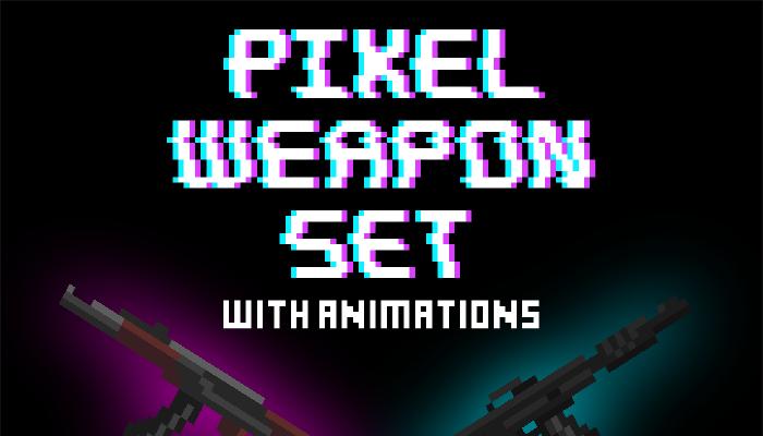 Pixel art military weapon set