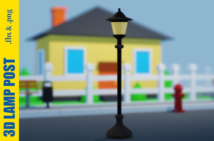 3D Lamp Post – Low Poly – FREE