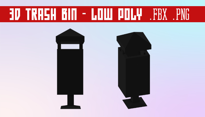 3D Trash Bin – Low Poly – Free