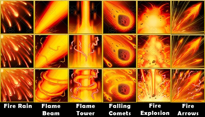 Fantasy Game Basic Magic Skill Icons – Fire Magic