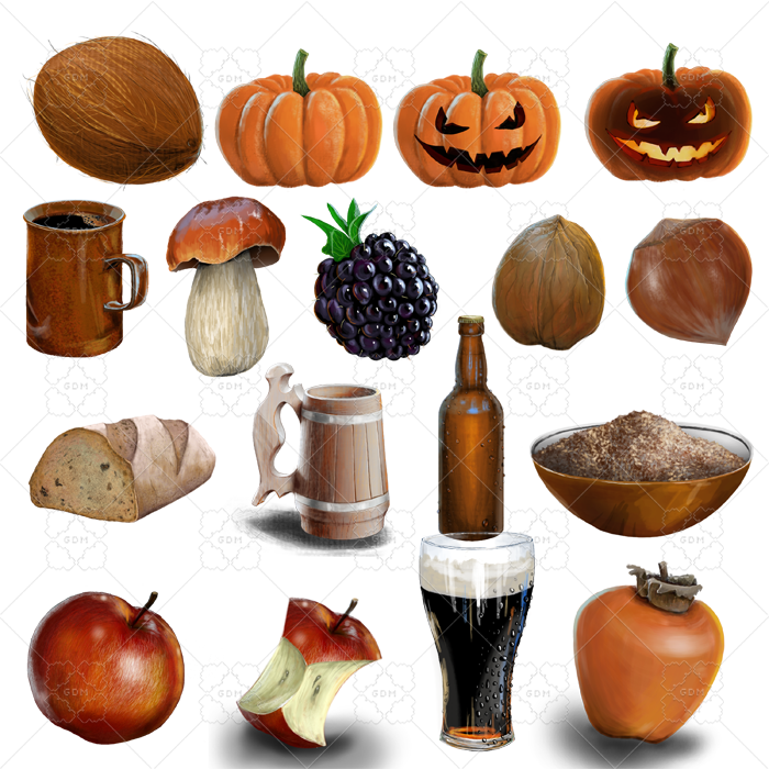 A set of 25 items of realistic food icons