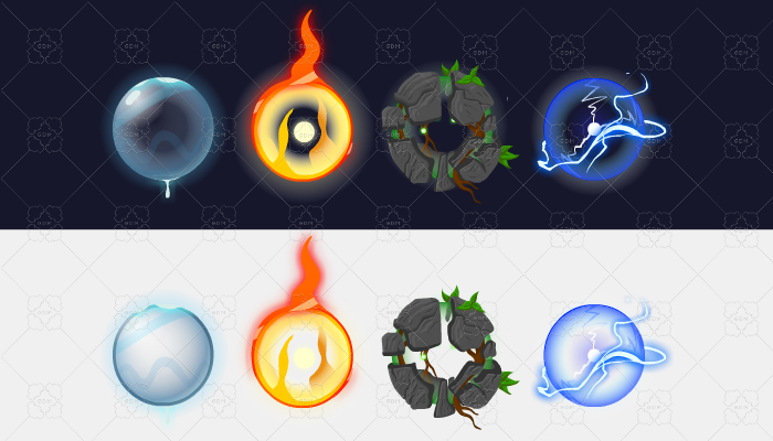 ANIMATION WATER BALL, FIRE BALL, EARTH BALL, LIGHTNING BALL.