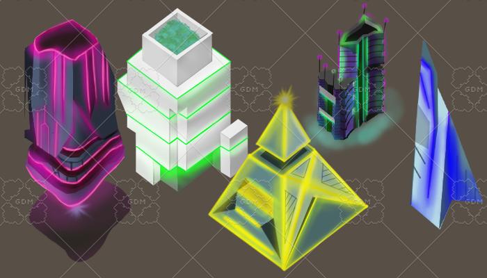 skyscrapers neon cyberpunk