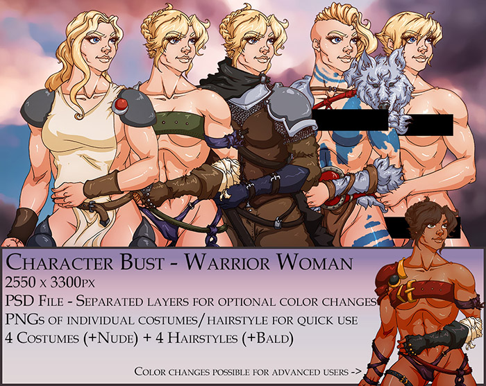 Warrior Woman Character Bust