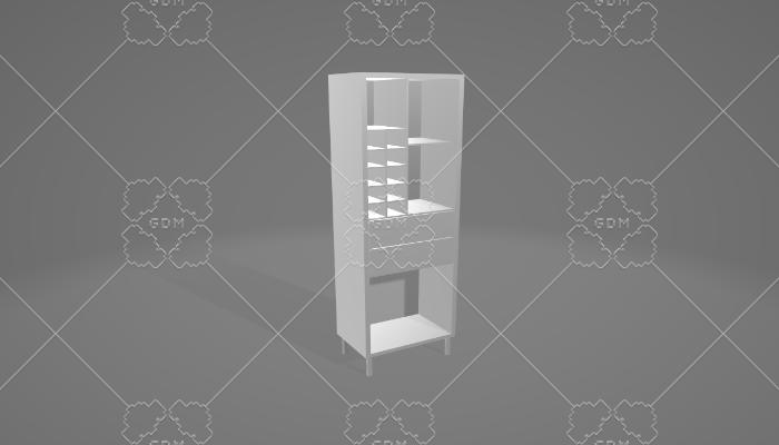 wine shelf with 2 drawers