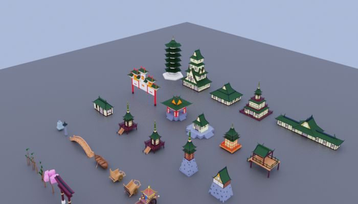 Pack low poly chinese
