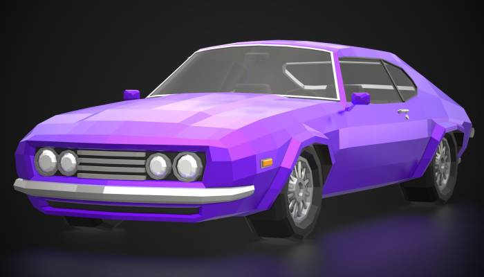 Low-Poly Retro Muscle Car 03