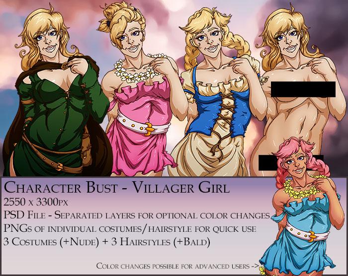 Villager Girl Character Bust