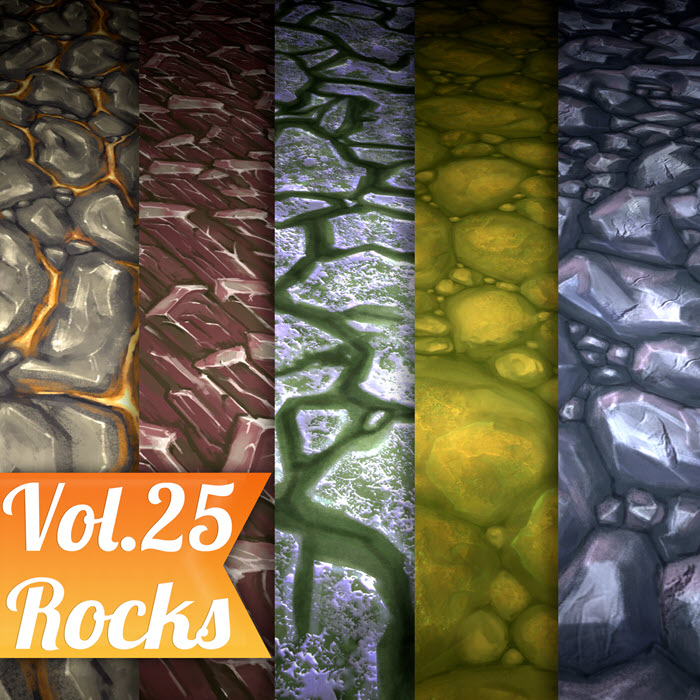 Stylized Rocks Vol 25 – Hand Painted Texture
