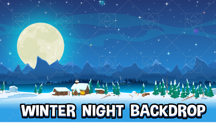 Winter night backdrop creation kit