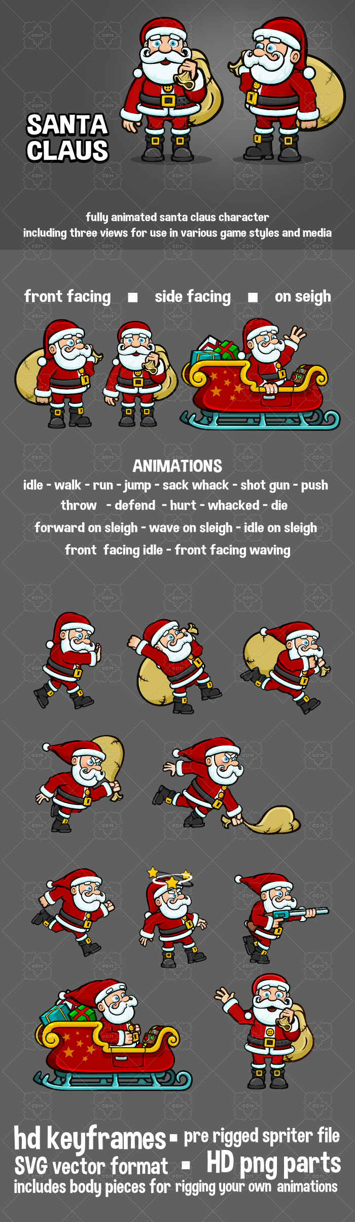 Animated santa clause cartoon character