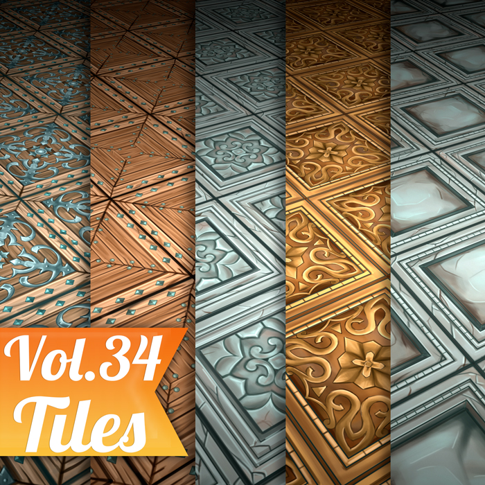 Stylized Tiles Vol 34 – Hand Painted Textures