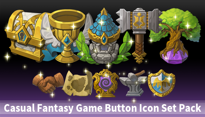 Casual Fantasy Game Button Icon2 Set Pack