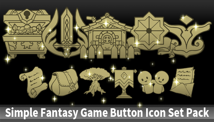 Simple Fantasy Game Button Icon Set Pack