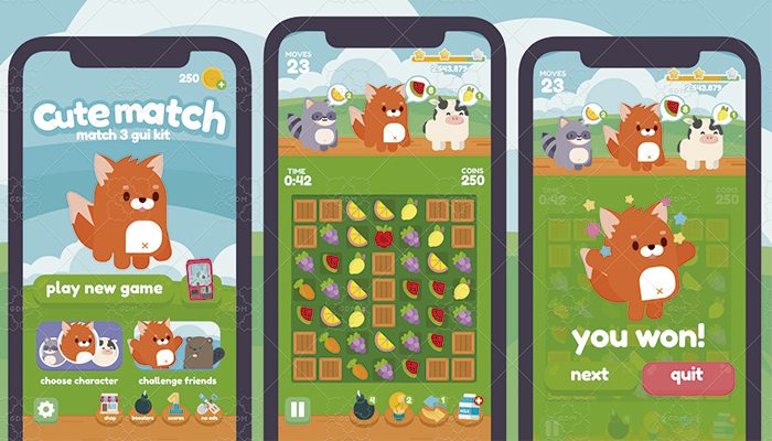 Cute Animals Match 3 Game Gui Assets