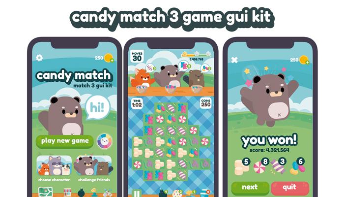 Candies Match 3 Game Gui Assets