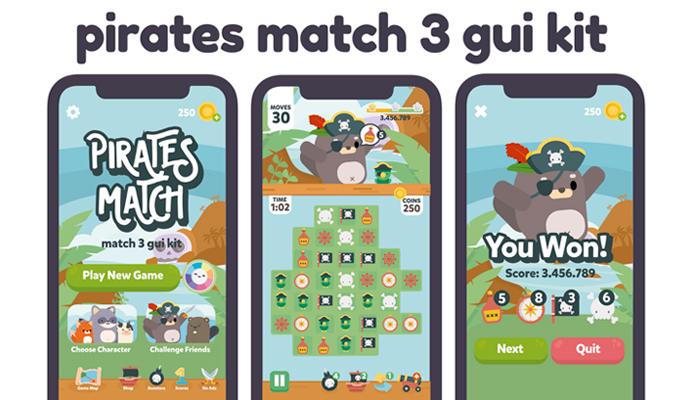 Pirates Sweet Match 3 Game Gui Assets