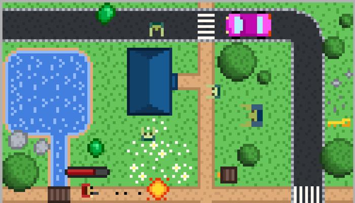 Pixel shooter sprite, top view