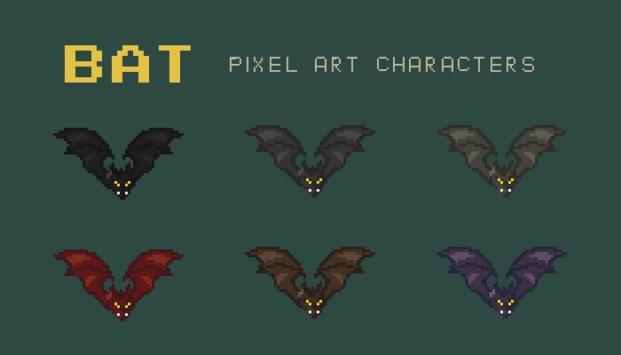 Bat Pixel Art Character