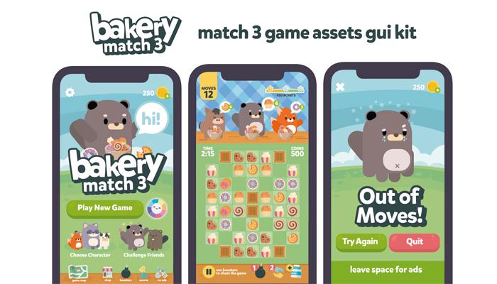 Animals Bakery Sweet Match 3 GUI Kit