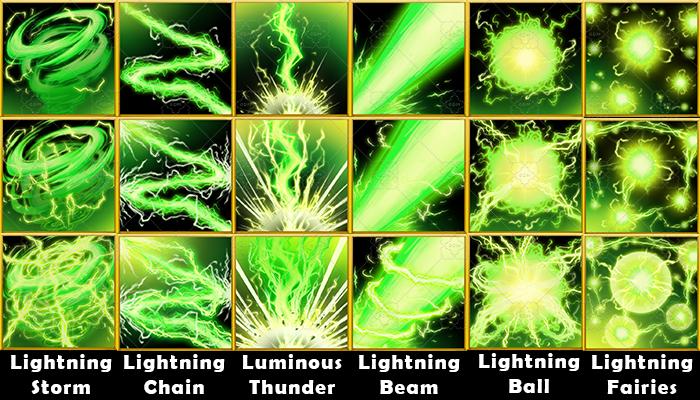 Fantasy Game Basic Magic Skill Icons – Lightning Magic