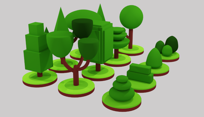 Isometric tree plant Low-poly 3D model