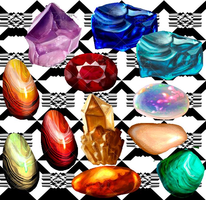 Set of 12 gems