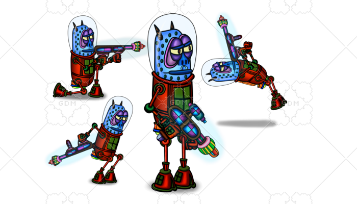 2D Spine space Pirate