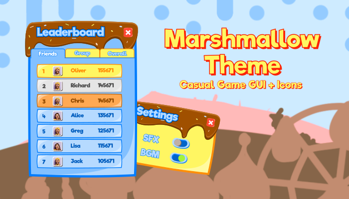 Marshmallow Theme Casual Game GUI + Icons