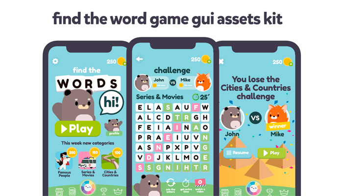 Animals Words Game Gui Assets Kit
