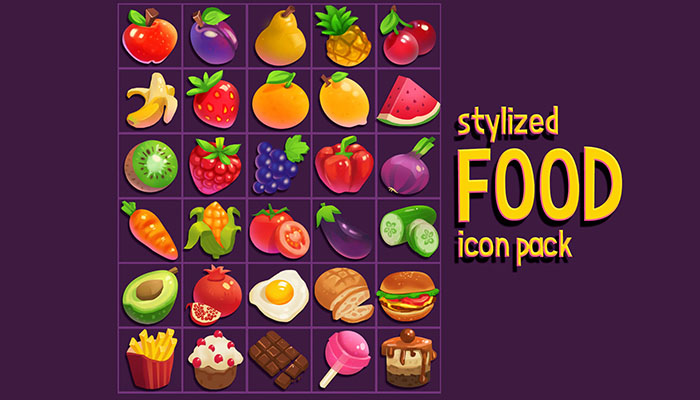 Stylized Food Icons Pack
