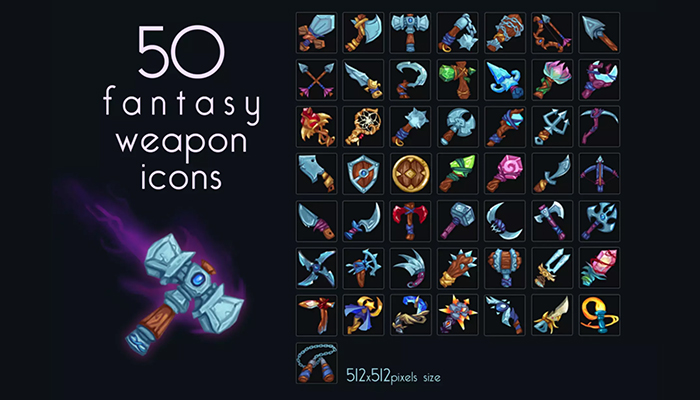 Stylized Weapon Icons Pack