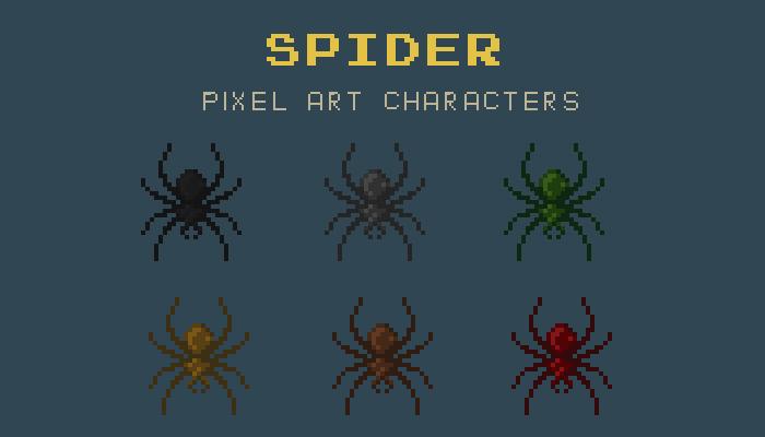 Spider Pixel Art Character