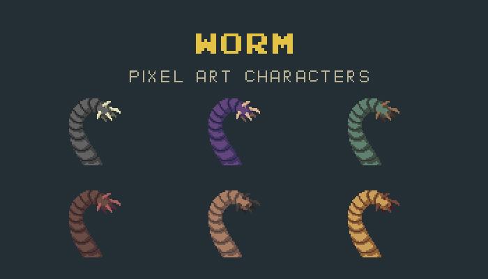 Worm Pixel Art Monster