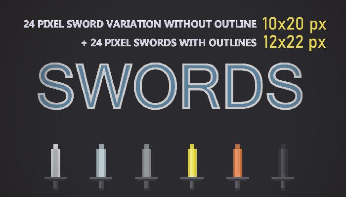 24 PIXEL SWORDS 10x20px