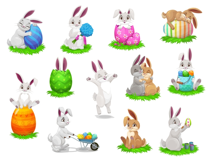 Easter cartoon rabbits with painted eggs. Isolated vector characters
